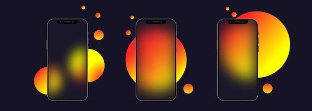 Glasmorphismus-stil. smartphone-vorlage. telefon-icon-set. realistischer glasmorphismuseffekt mit transparenten glasplatten.
