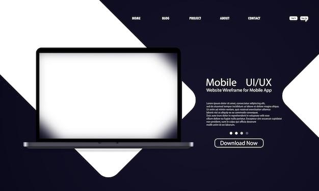 Glasmorphismus-stil. ui-ux-design der laptop-vorlage. realistischer glasmorphismuseffekt mit transparenten glasplatten.