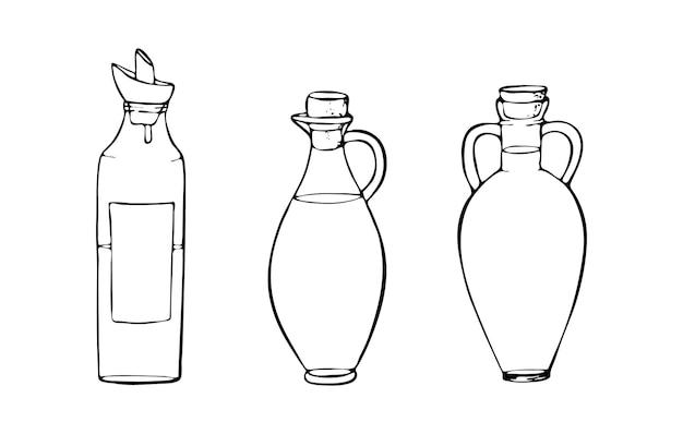 Glasölflaschen mit stopfen olivenkokos sonnenblumen sesam hanfgesunde lebensweise
