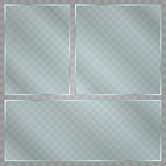 Glasplatte auf transparentem hintergrund. acryl- und glasstruktur mit blendung und licht. realistisches transparentes glasfenster im rechteckrahmen.