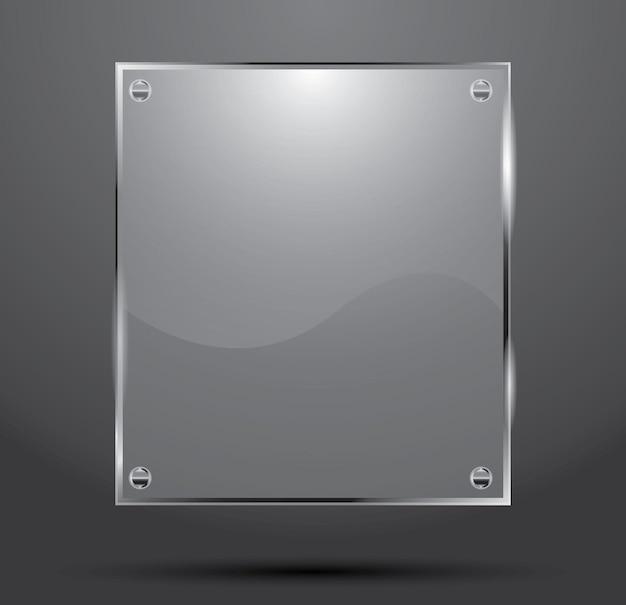 Glasplatte isoliert auf dunklem hintergrund