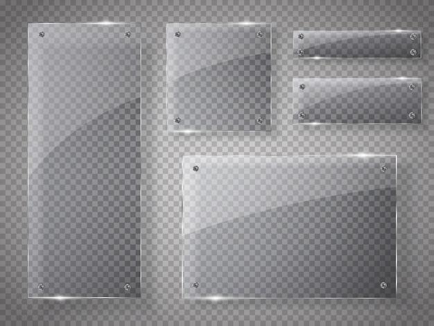 Glasplatten eingestellt. glasfahnen auf transparentem.
