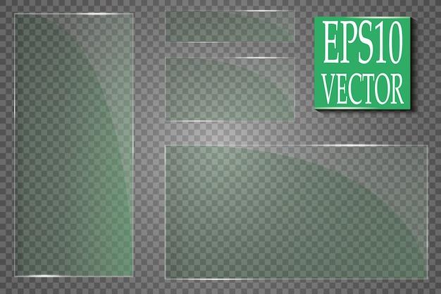 Glasplatten sind installiert. glasbanner auf einem transparenten hintergrund. glas. glasmalereien. farbrahmen.