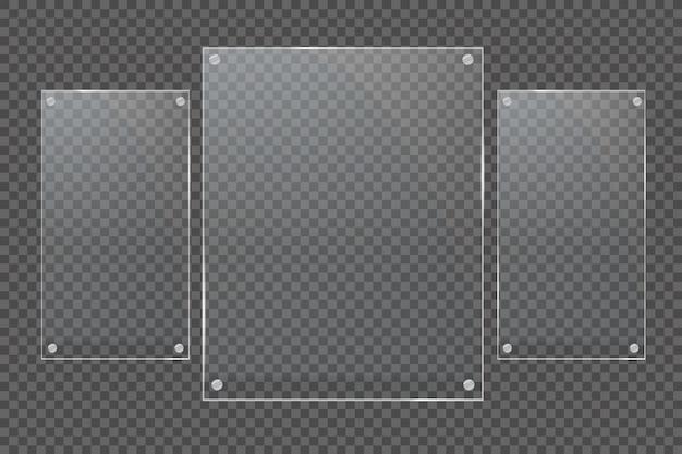 Glasplatten sind installiert. glasbanner auf einem transparenten hintergrund. glas. glasmalereien.