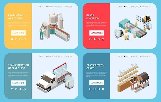 Glasproduktionsset aus vier horizontalen bannern mit anklickbaren schaltflächen, editierbarem text und bildern von einrichtungen