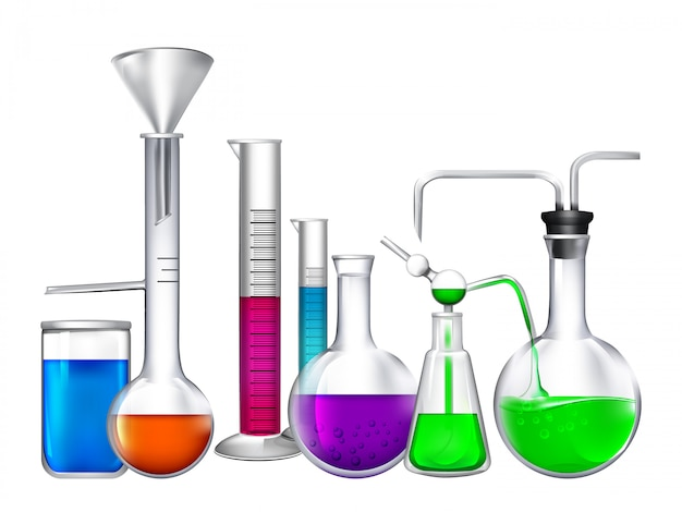 Glasröhre mit verschiedenen chemischen flüssigen bestandteilen