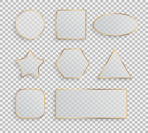 Glass transparency frame collection set illustration
