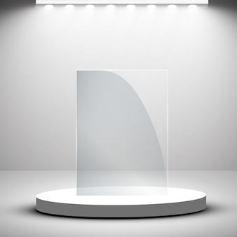 Glass trophy award podium illustration