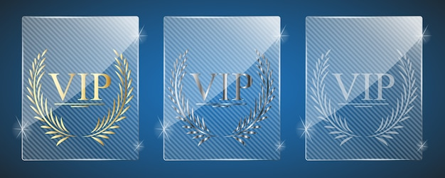 Glass vip awards. illustration. drei varianten.