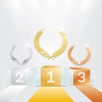 Glass winner podium mit scheinwerfern und lorbeerkranz. vektor-illustration.