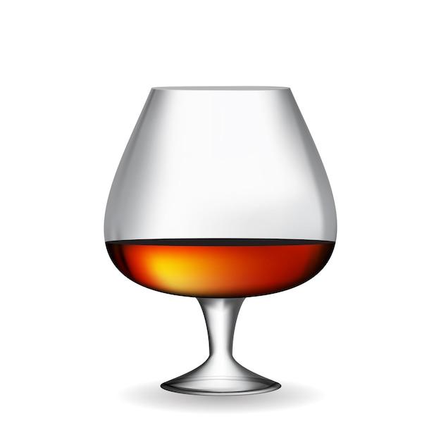 Glassammler 50 jahre alter französischer cognac auf weißem hintergrund. v