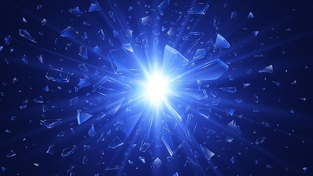 Glasscherben. abstrakter explosionshintergrund. illustration