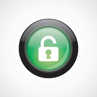 Glasschild symbol grün glänzend taste entsperren. ui website-schaltfläche