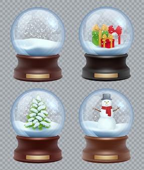 Glasschneeball. kristallisierende magische weihnachtsspielzeug-schneekugel realistische vorlage
