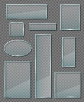 Glastafel. moderne transparente wandpaneele verschiedener leerer banner bilden geometrische formvektoren