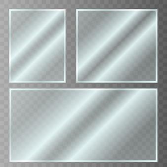 Glasteller. acryl- und glasstruktur mit blendung und licht. realistisches transparentes glasfenster im rechteckrahmen. vektor