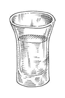 Glastequila, salzstreuer und limette. handgezeichnete skizze schraffur-vektor-illustration. isoliert auf weißem hintergrund