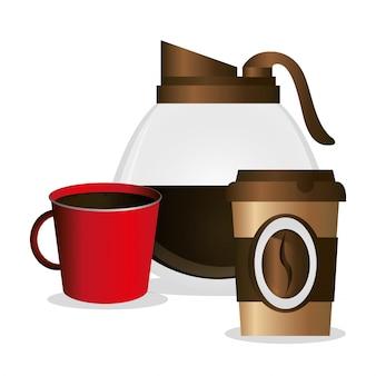Glastopf maker und tassen kaffee