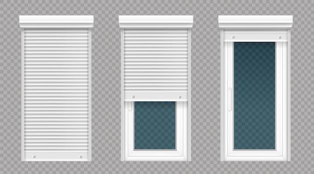 Glastür oder fenster mit weißem rollladen