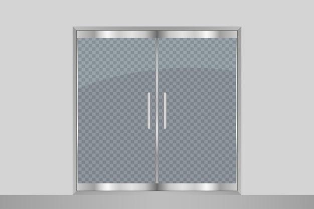 Glastür und wand auf transparentem hintergrund isoliert eingangsdoppeltüren für einkaufszentrum büro