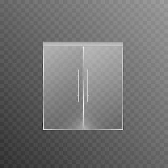 Glastüren auf einem isolierten transparenten hintergrundtüren des haupteingangs zu einem ladenbüro
