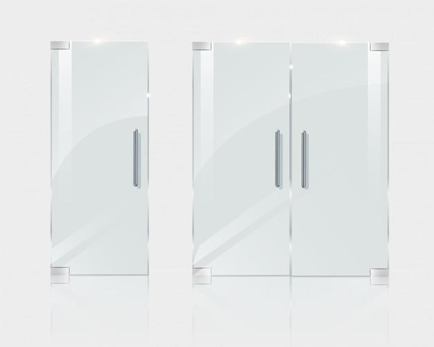 Glastüren, in einem boutique-büro oder geschäft. illustration für architektenprojekte.