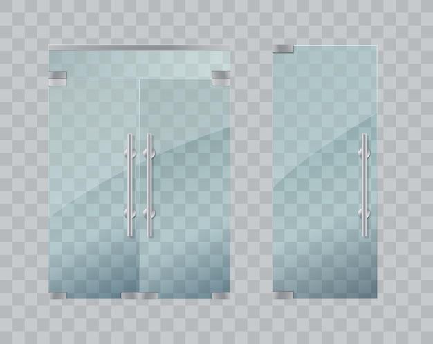 Glastüren lokalisiert auf transparenter hintergrundvektorillustration