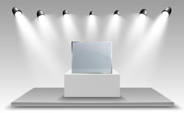 Glasvitrine für die ausstellung in form eines würfels hintergrund zum verkauf beleuchtet