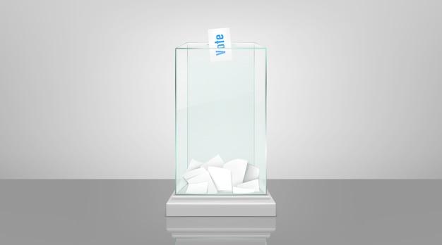Glaswahlurne mit realistischem vektor der papiere