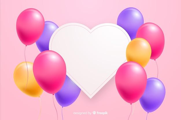 Glatte ballone mit leerer fahne im effekt 3d