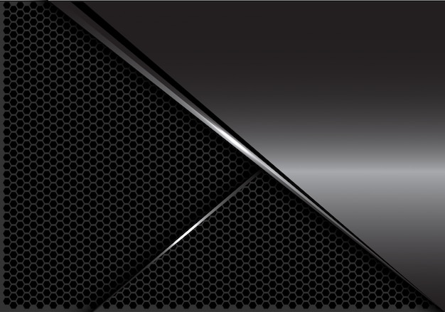 Glatte graue metallsilberlinie dunkler hexagonmaschenhintergrund.