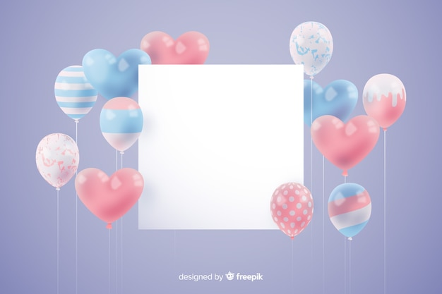 Glatter dreidimensionaler ballonhintergrund mit leerer fahne