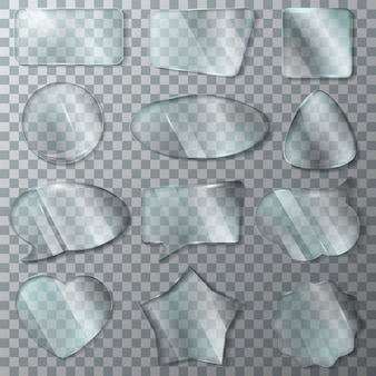 Glatter klarer leerer rahmen der glasvektortransparenz und leerer glasfensterherz-glaswarensatz der realistischen glatten blasenrede