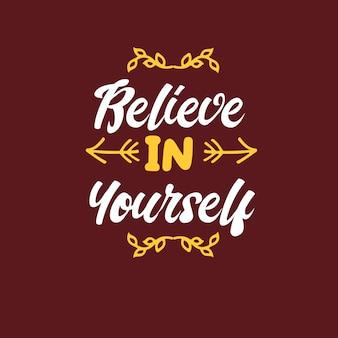 Glaube an dich typografie