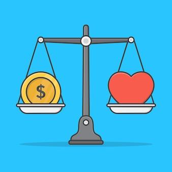 Gleichgewicht zwischen geld und herz