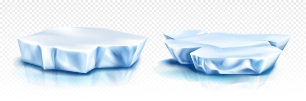 Gletscher, eisbergstücke, blaue eisblöcke