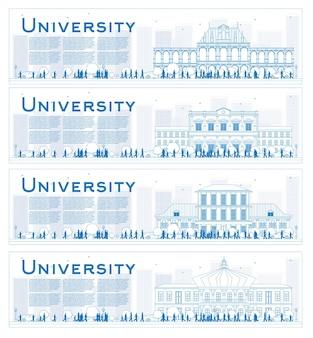 Gliederung satz von universitätsstudienfahnen. vektor-illustration. studenten gehen zum hauptgebäude der universität. banner mit kopienraum.