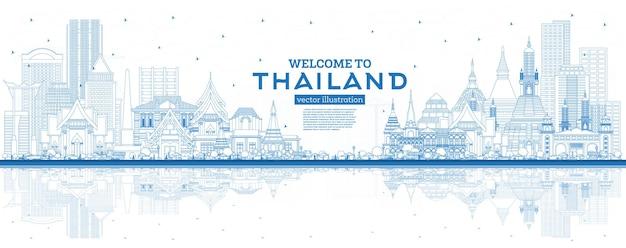 Gliederung willkommen in der skyline von thailand mit blauen gebäuden und reflexionen. vektor-illustration. tourismuskonzept mit historischer architektur. thailand-stadtbild mit sehenswürdigkeiten.