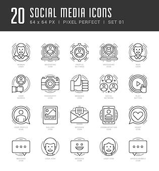 Gliederungssymbole setzen social-media-symbole