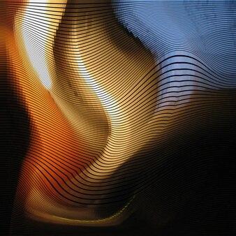 Glitch abstrakten hintergrund mit verzerrungseffekt, zufällige wellen farblinien