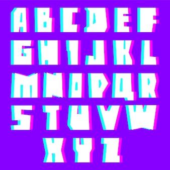Glitch alphabet buchstaben mit effekt