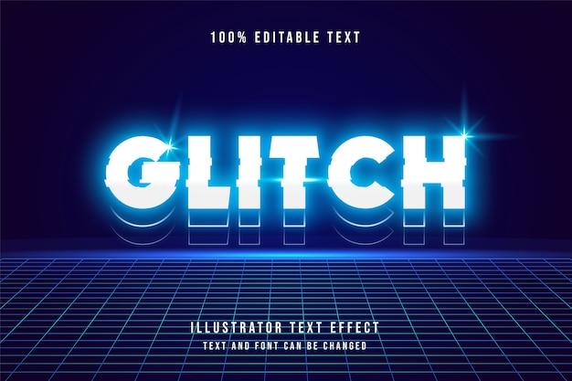 Glitch, bearbeitbarer 3d-texteffekt. neon-stil