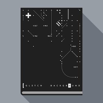Glitch book cover / poster design vorlage mit einfachen geometrischen design-elemente.