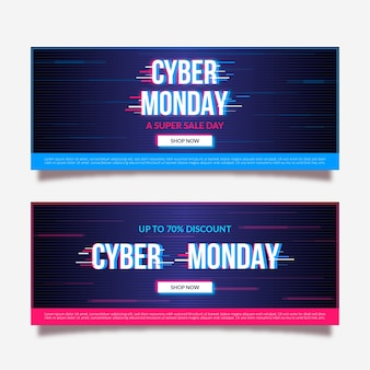 Glitch cyber montag banner vorlage