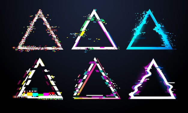 Glitch dreiecksrahmen. verzerrter fernsehbildschirm, fehlerlichteffekte bei fehlerhaften dreiecken. verzerrungsstörungen gestalten vektorsatz