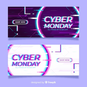 Glitch-effekt cyber montag banner vorlage