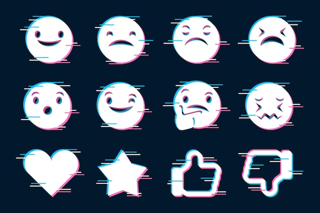 Glitch emojis icons set