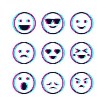 Glitch emojis illustrationen gesetzt