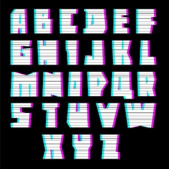 Glitch font alphabet mit interferenz, großbuchstaben