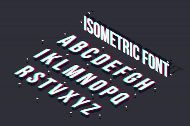 Glitch isometric font